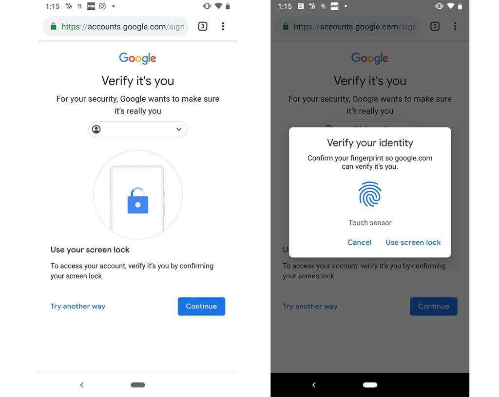 جوجل تتيح الدخول إلى خدماتها على أندرويد باستخدام بصمة الأصبع